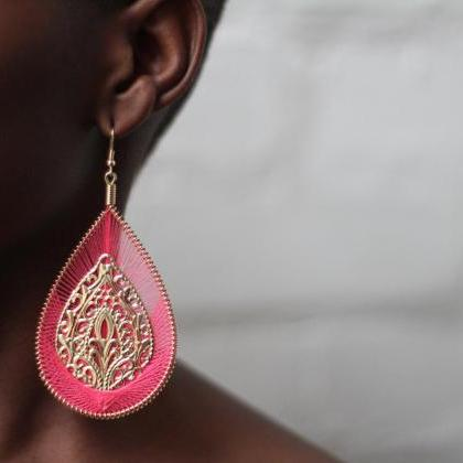 Pink and Gold Drop Earrings Fashion..