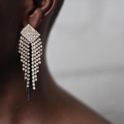 Large Rhinestone Crystal Drop Earri..