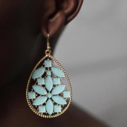 Mint Green Drop Earrings Fashion Ea..