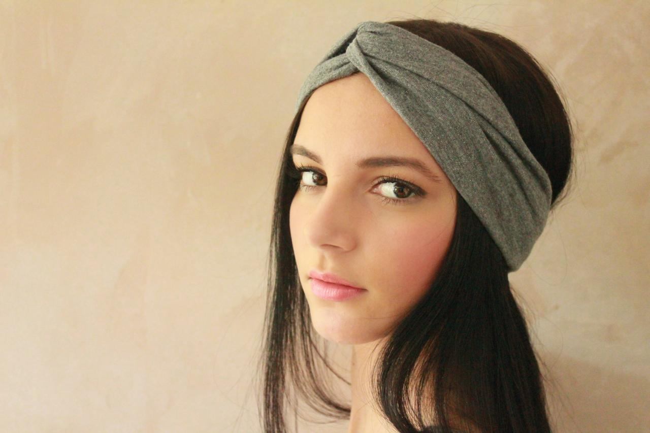 Workout headband -Turban Headband, Yoga Headband, Turban Twist, Exercise headband, Boho Headband, Hippie Headband - Grey Glitter Hairband