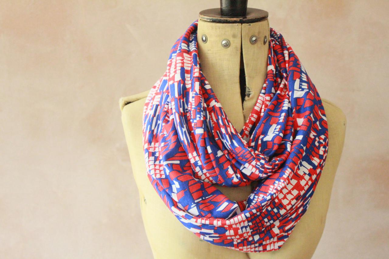 Infinity scarf - Snood, Eternity scarf, Circle scarf, Jersey scarf, Tube scarf, Loop scarf, Snood, T-Shirt scarf - Floral Stripes