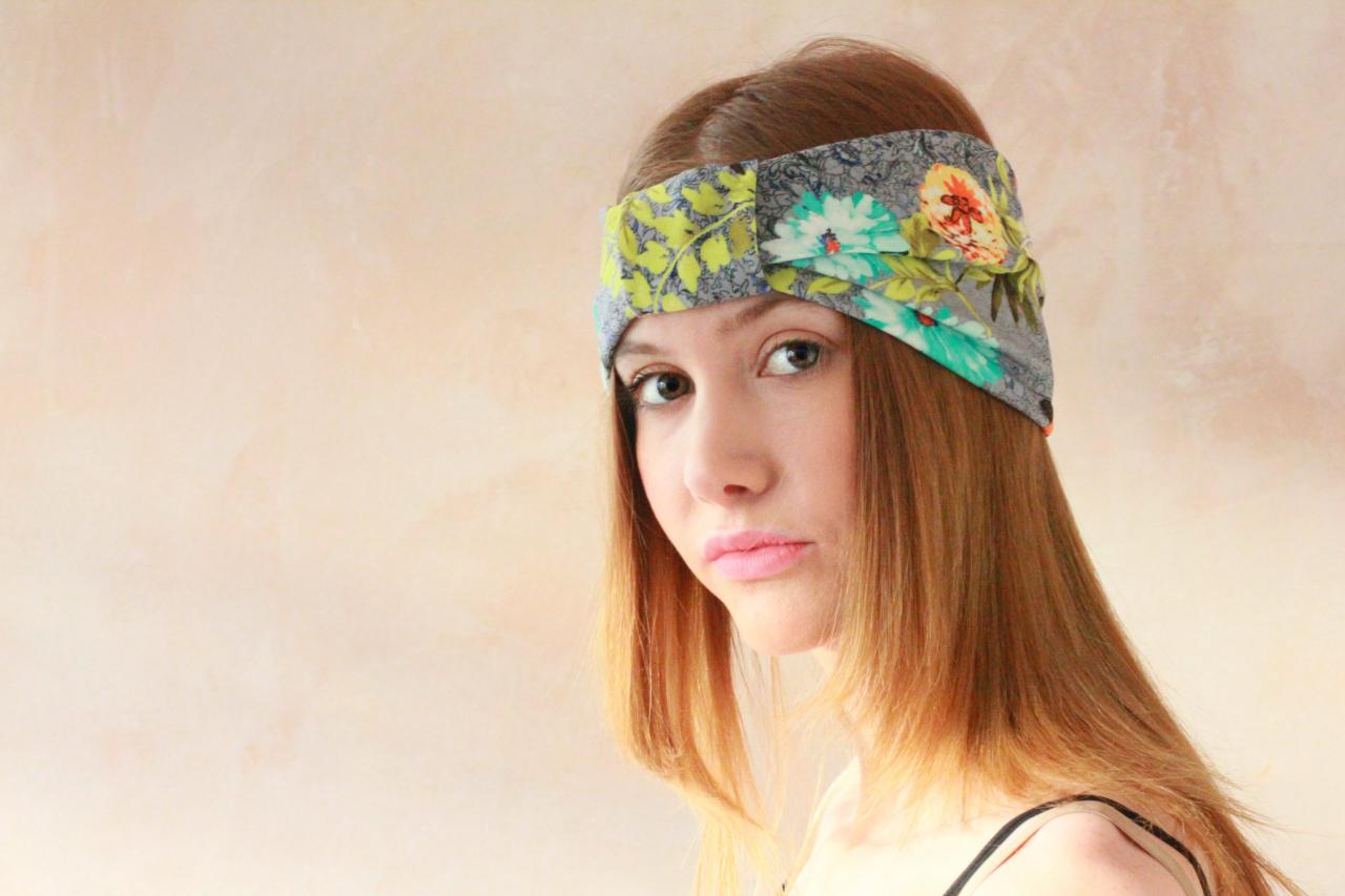 Workout headband, Turban Headband, Fabric Headband, Boho Headband, Hippie Headband, Yoga Headband, Exercise headband - Spring Flower