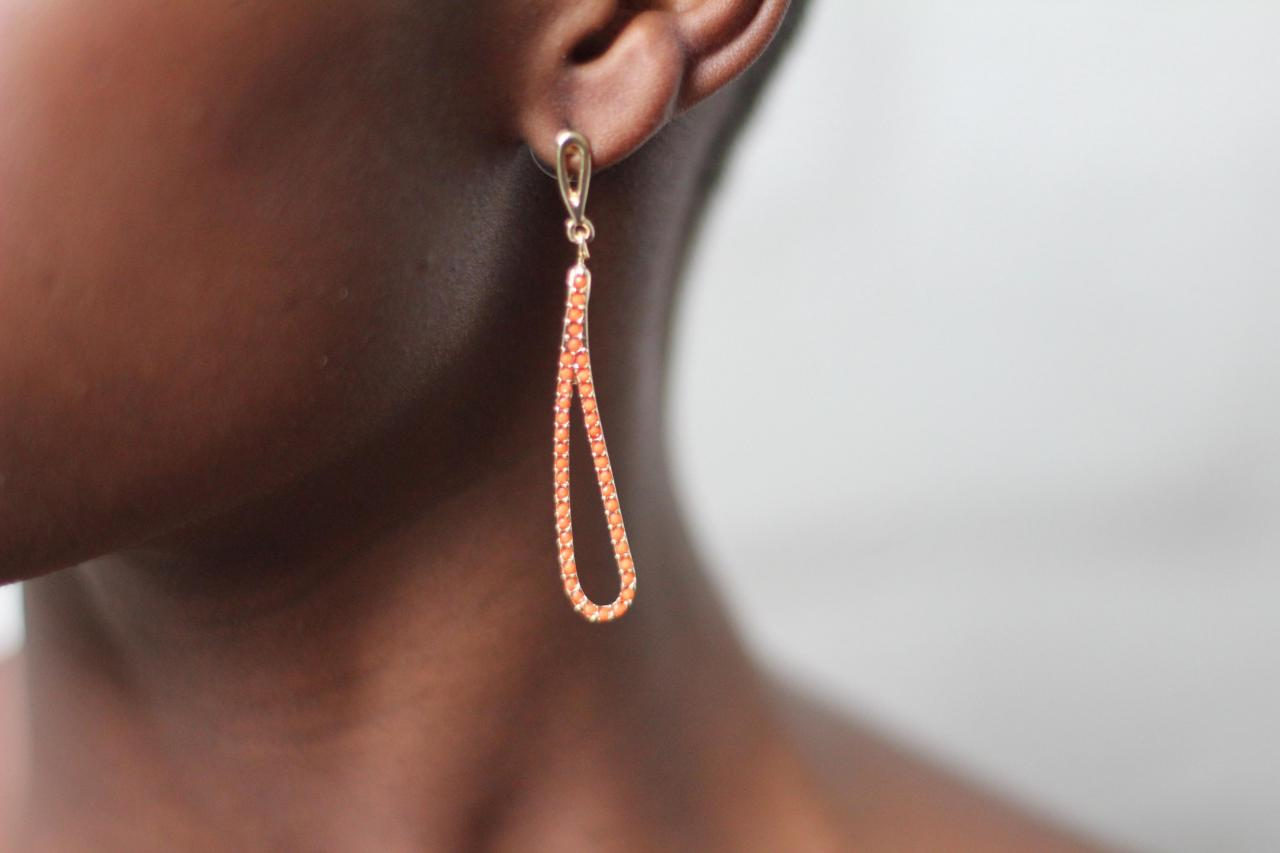 Orange Drop Earrings Fashion Earrings