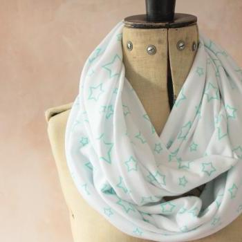 Infinity scarf - Snood, Eternity scarf, Circle scarf, Jersey scarf, Tube scarf, Loop scarf, Snood, T-Shirt scarf - Green Star