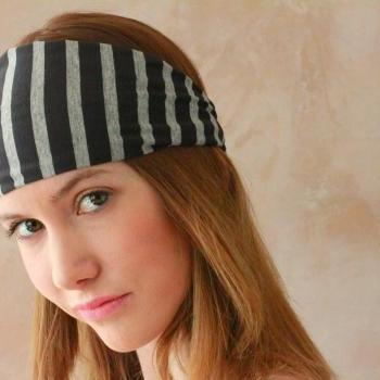Workout headband, Fabric Headband, Exercise headband, Stretchy Headband, Sweatband, Boho Headband, Hippie Headband, Hairband - Grey Stripes