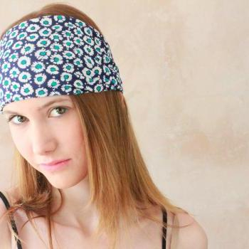 Workout headband, Fabric Headband, Exercise headband, Stretchy Headband, Sweatband, Boho Headband, Hippie Headband, Hairband Blue Daisy