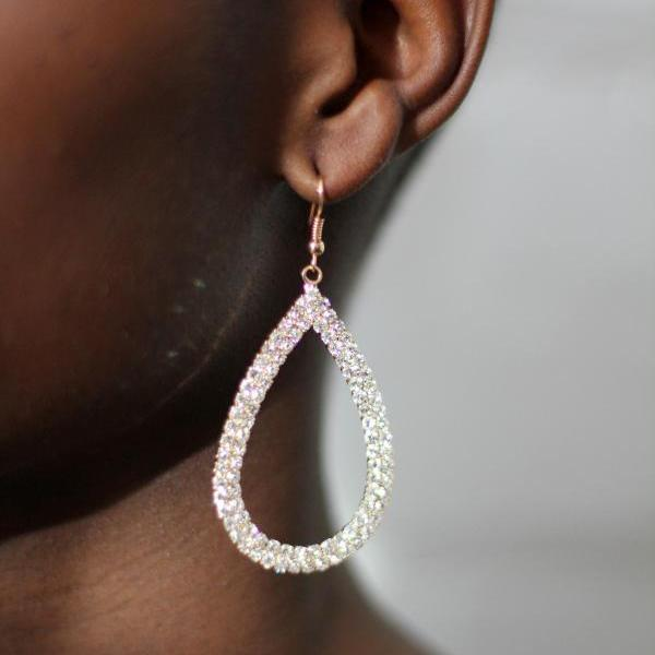 Large Rhinestone Crystal Drop Earrings Fashion Earrings