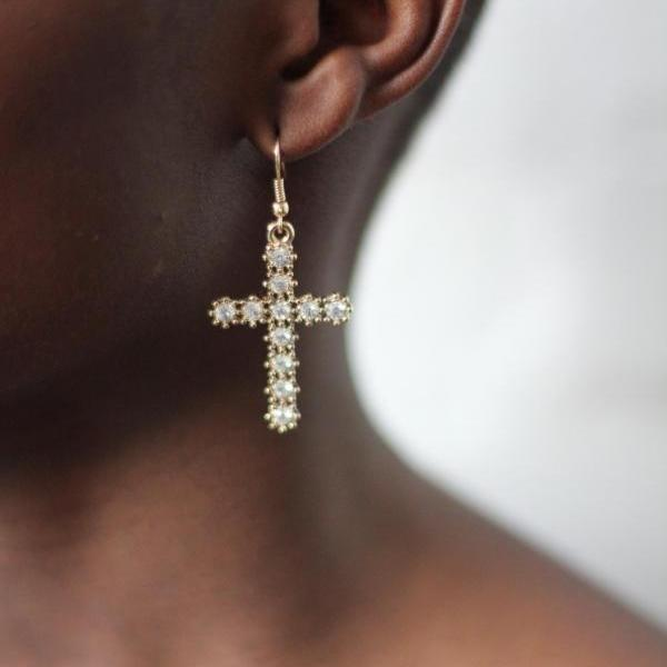 Cross Rhinestone Crystal Drop Earrings Fashion Earrings